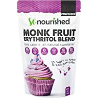 Powdered Monk Fruit + Erythritol Sweetener Confectioners (454 g / 1 lb) - Perfect for Diabetics and Low Carb Dieters - 1:1 Sugar Replacement - No Calorie Sweetener, Non-GMO, Natural Sugar Substitute (454 Grams)