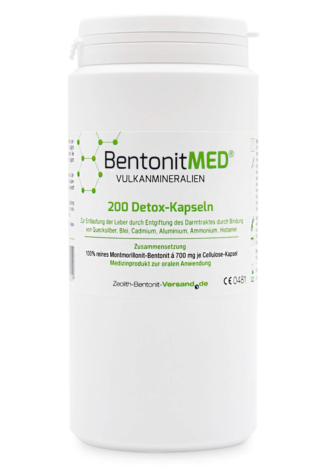 Bentonite Med 200 Detox Capsules for 33 Days