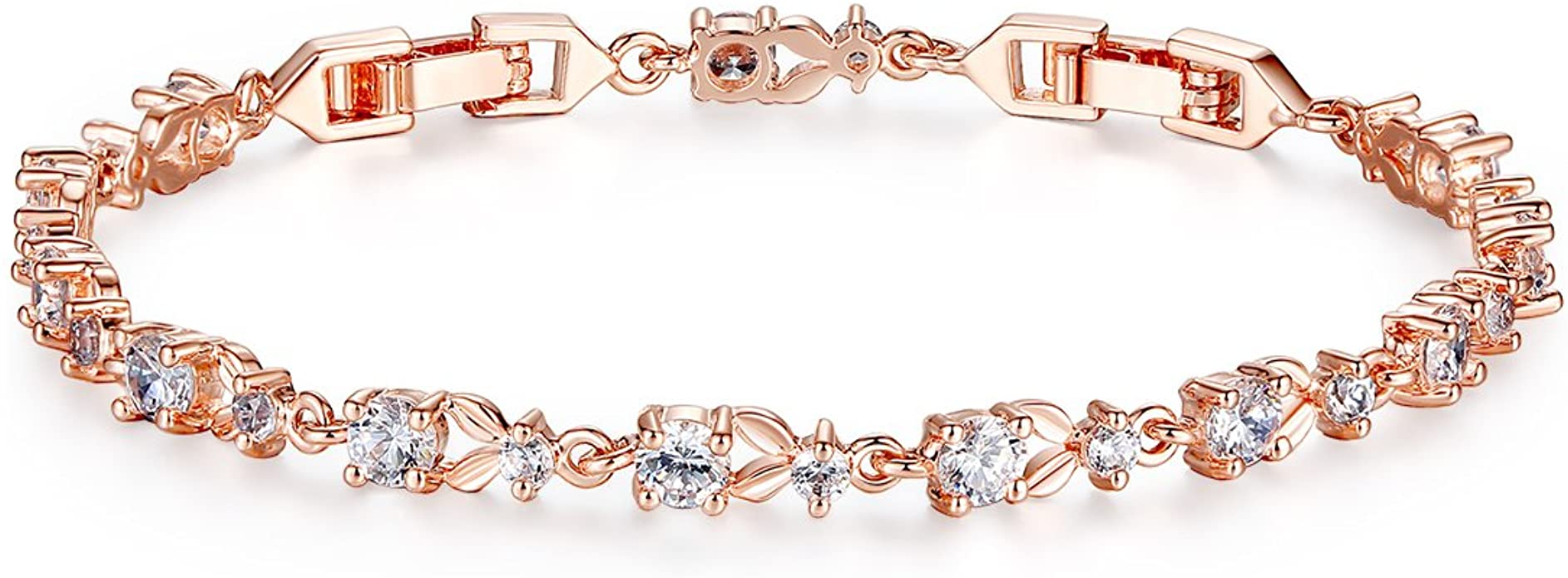 Rose Gold Plated Sterling Silver /& CZ Crystal Adult Bracelet 7.5 Inches