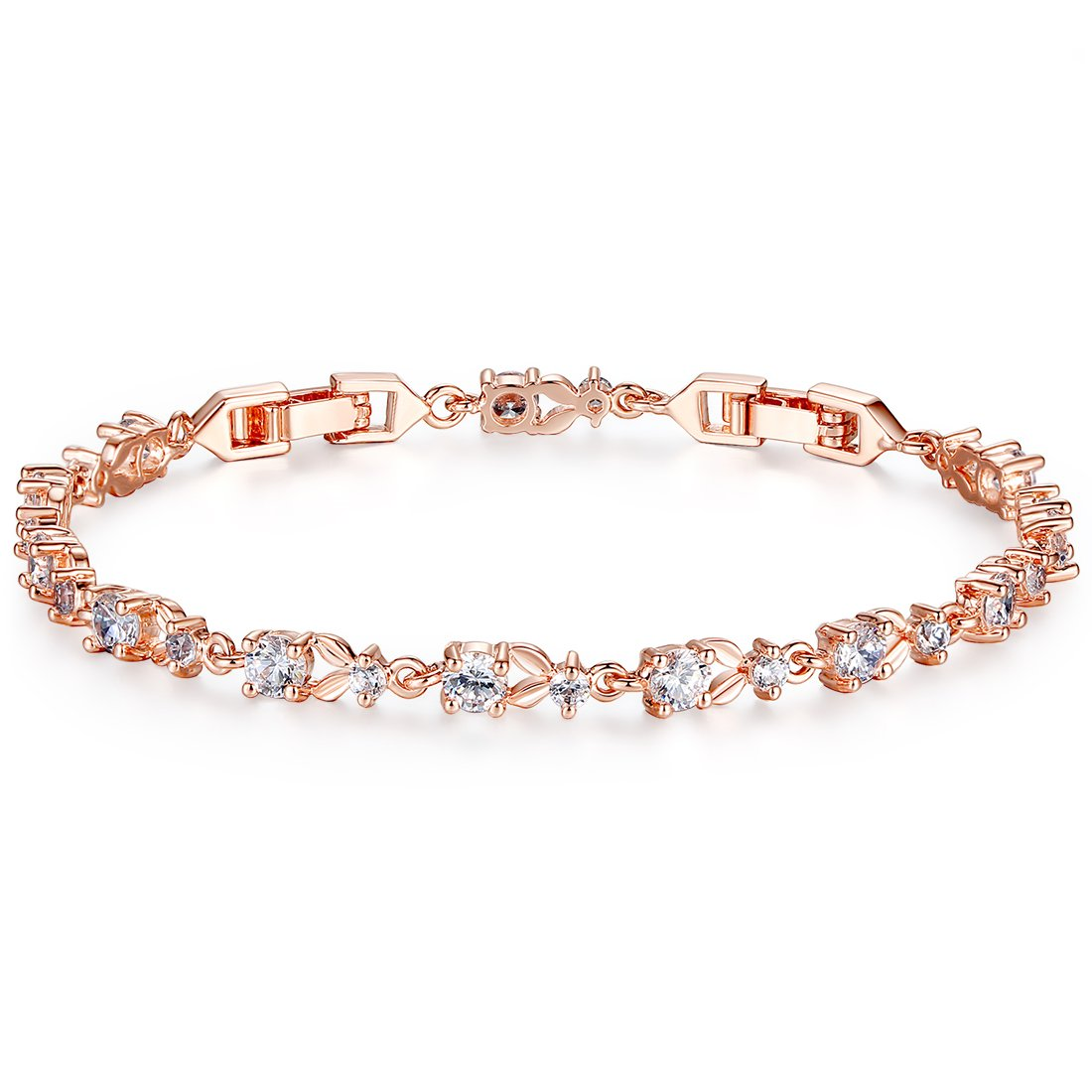 Bamoer Luxury Rose Gold Bracelets with Sparkling Clear Cubic Zirconia CZ Crystal Women Girls Charms Bangle