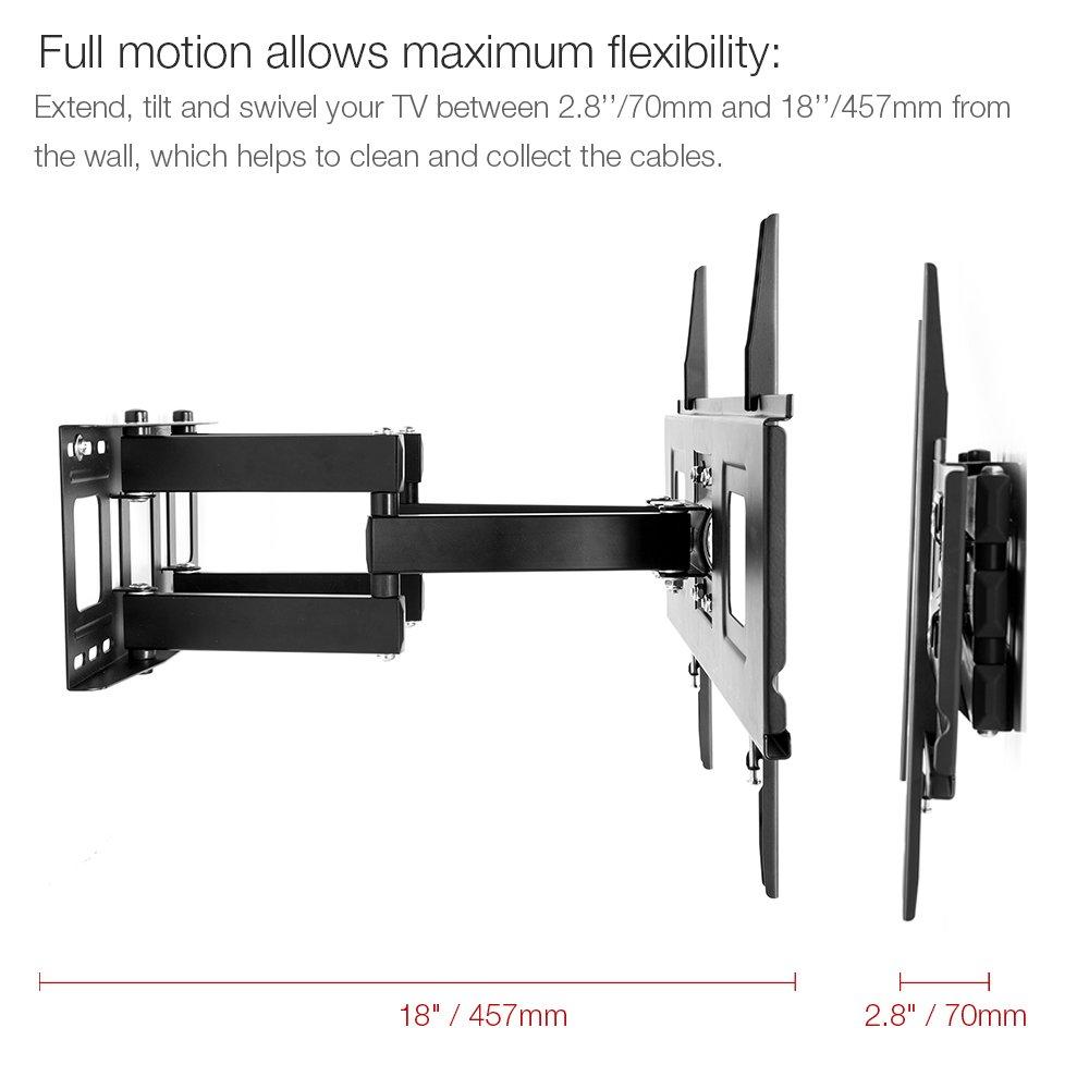 fleximounts tv wall mount bracket for 32 65 inch tv full motion articulating ebay. Black Bedroom Furniture Sets. Home Design Ideas