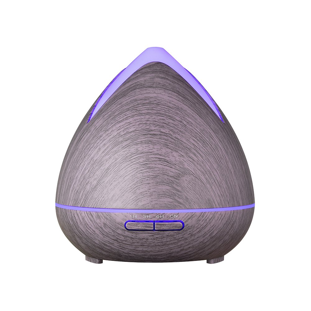 Aroma Essential Oil Diffuser, QHS 400 ml Ultrasonic Cool Mist Humidifier with Color LED Lights Changing for Home, Yoga, Office, Spa, Bedroom, Baby Room - Wood Grain (Brown)