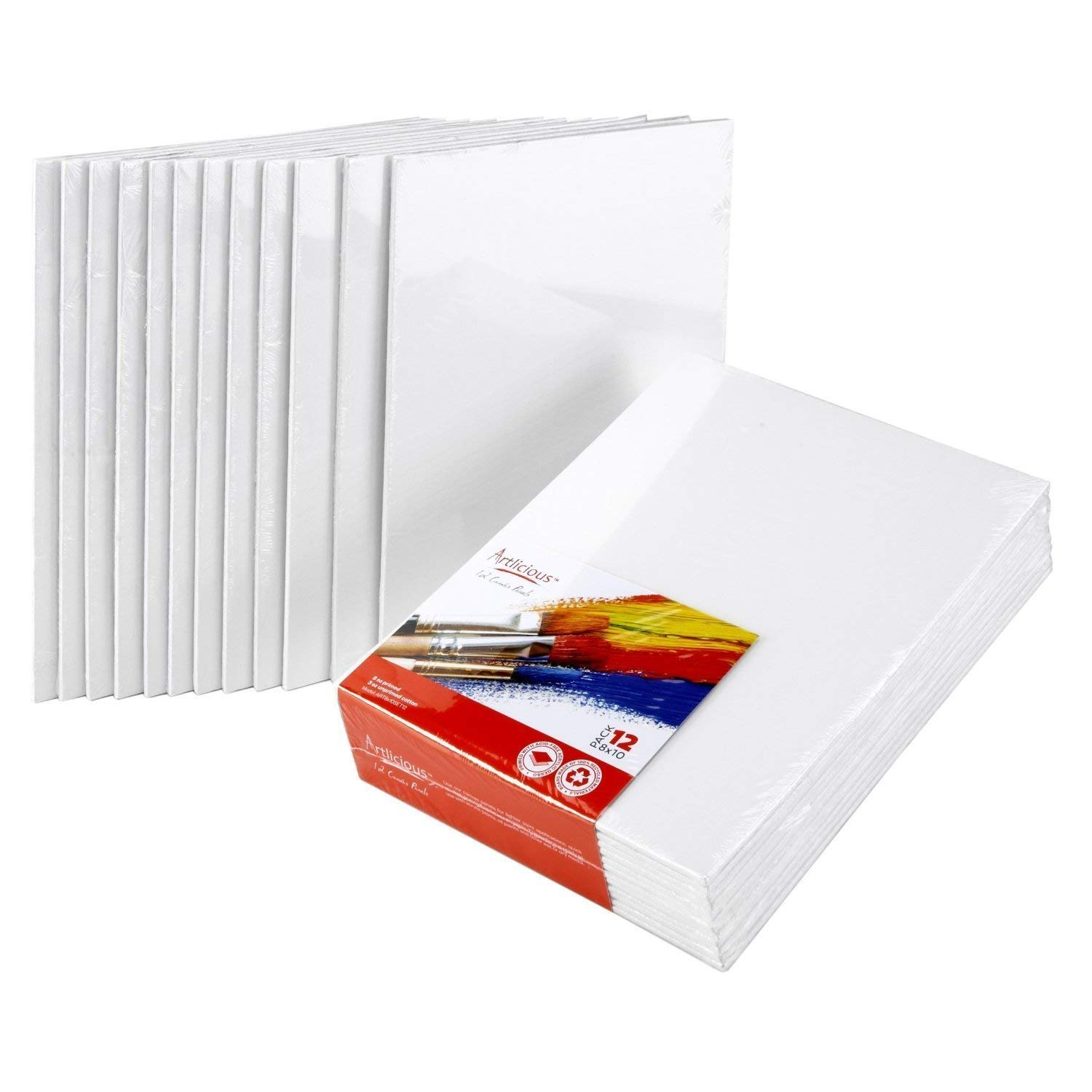 Artlicious Canvas Panels 48 Pack - 8''X10'' Super Value Pack- Artist Canvas Boards for Painting