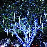 Twinkle Star Meteor Shower Rain Lights, 30cm 8 Tubes 288 LED Icicle Snow Falling Christmas Lights Outdoor Raindrop Lights, Xmas Wedding Party Tree Holiday Decoration, Blue