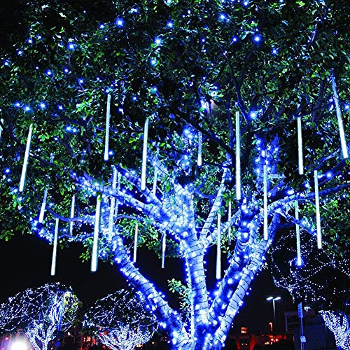 Twinkle Star Meteor Shower Rain Lights, 30cm 8 Tubes 288 LED Icicle Snow Falling Christmas Lights Outdoor Raindrop Lights, Xmas Wedding Party Tree Holiday Decoration, Blue (Icicle Lights Outdoor Xmas)