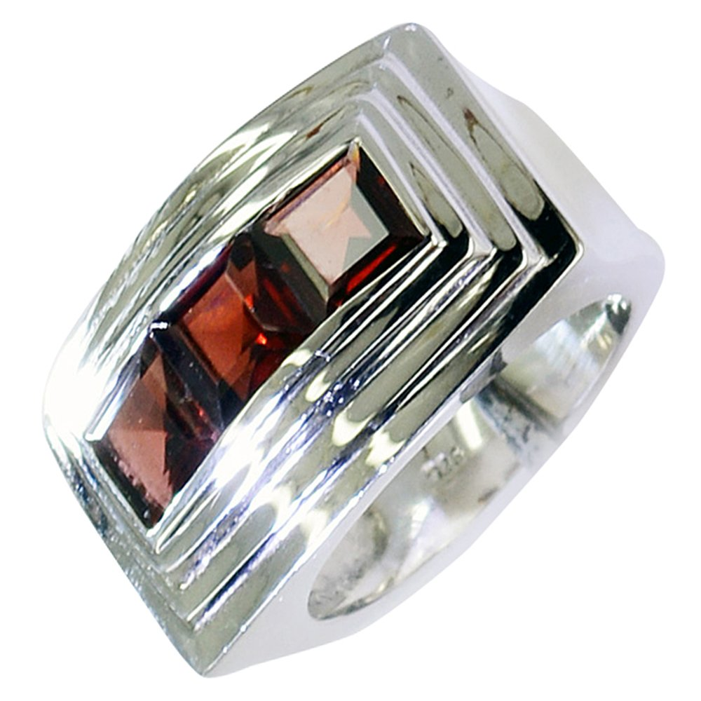 CaratYogi Genuine Garnet Ring in Silver Princess Shape Cluster Style Design Versatile Jewelry Size 5-12