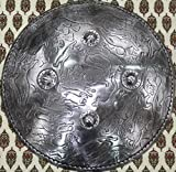 Rajasthan Gems Engraved Animal Figures Lion Elephant Battle Armory Shield Dhal 18 Inches