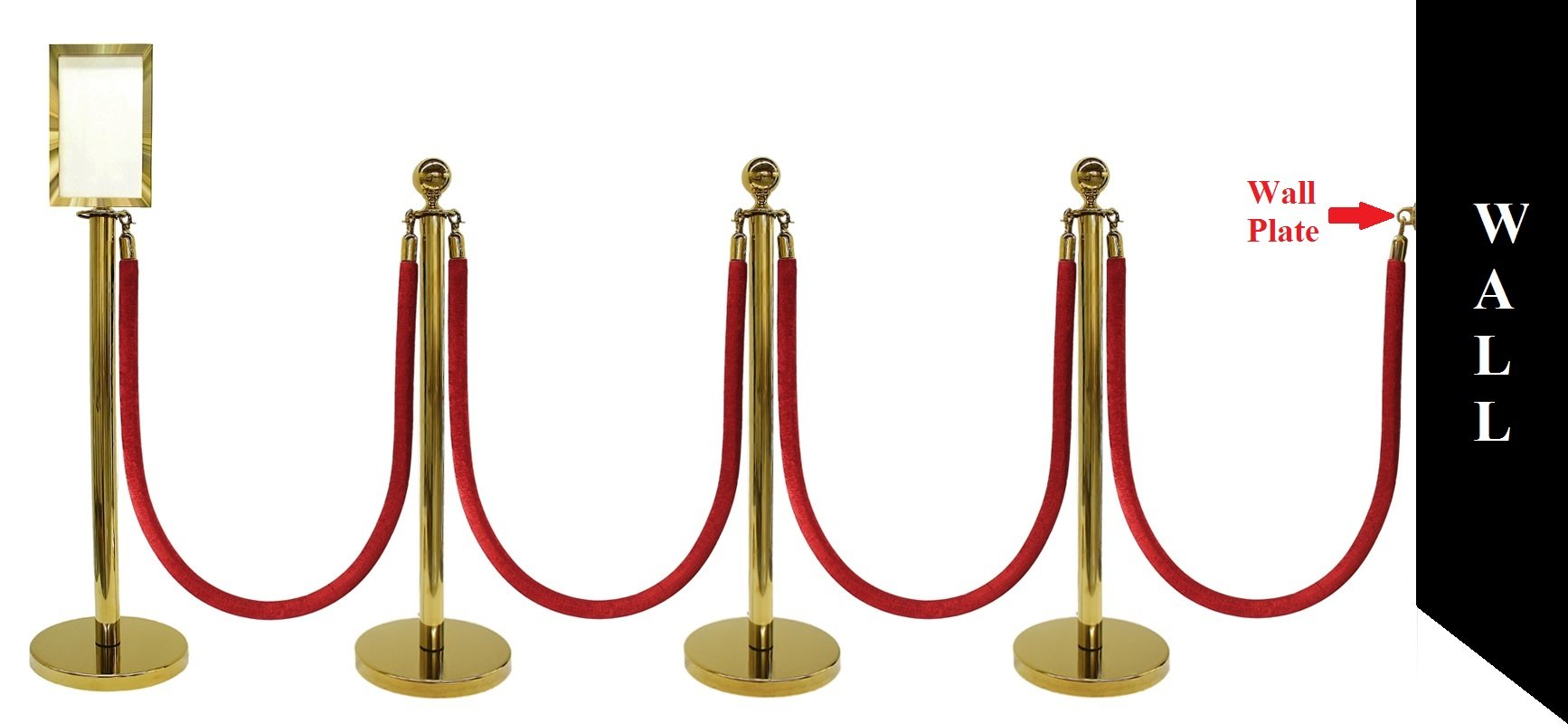 10 PCS ROPE STANCHION SET, CROWN TOP AND GOLD POLISH S.S. 12'' FLAT BASE