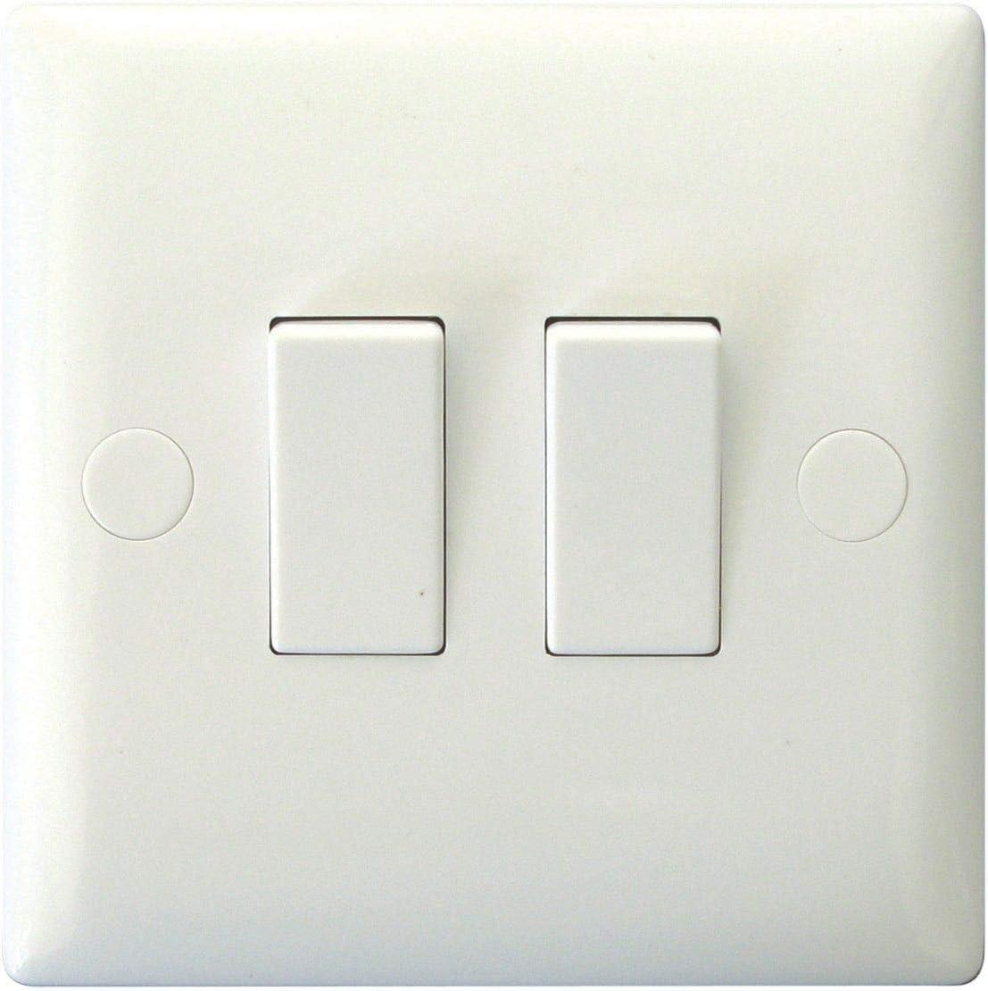 Varilight XO2W - Interruptor de luz para balancín de 1 o 2 vías, 2 interruptores, color blanco: Amazon.es: Bricolaje y herramientas