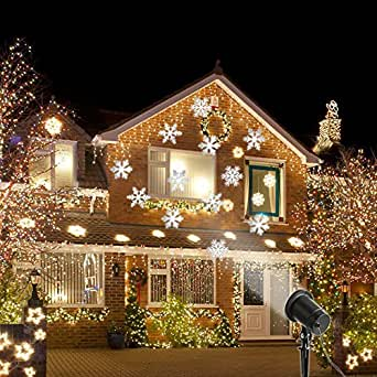 Christmas Projection Light, Halloween Snowflake Decorations Outdoor Waterproof LED Light Projector White Moving Snowflake for Landscape Garden Holiday Party Decoration (White)