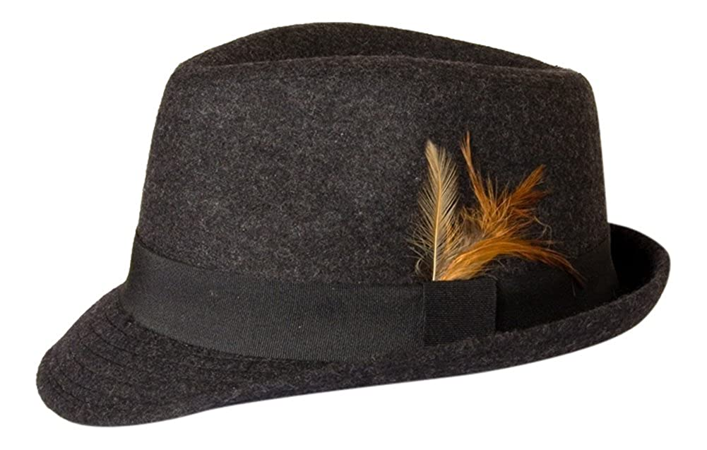 'Windsor' Asymetric Brim Grey Wool Felt Fedora Hat Gamble & Gunn