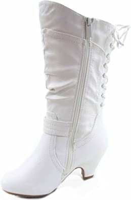 Lucky Top Kids Back Lace-up Tie Zipper Closure Faux Leather Boots Tmpage-65k