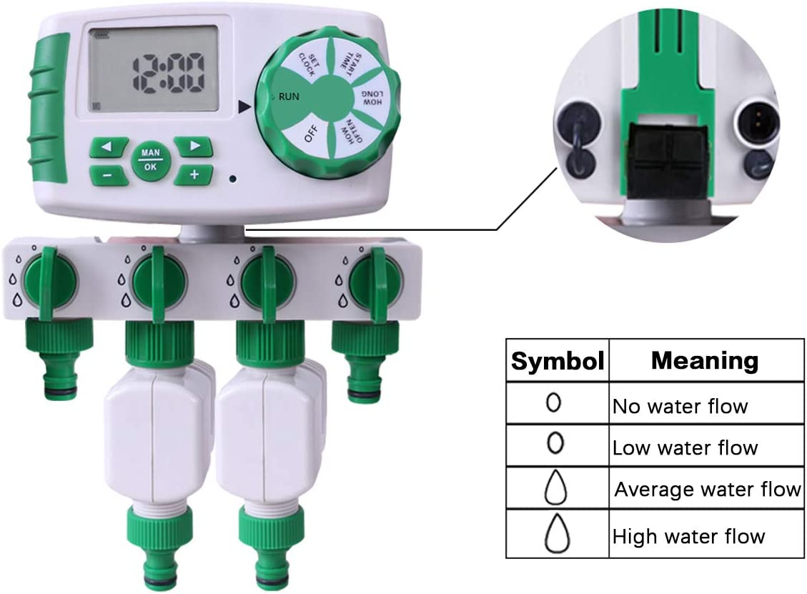 2 Magnetventile Garten Bew/ässerungsuhr Wasser Zeitschaltuhr Automatisch 4-Ausl/ässe Bew/ässerungscomputer Bew/ässerungssystem inkl EIN 4-Fach-Wasserverteiler