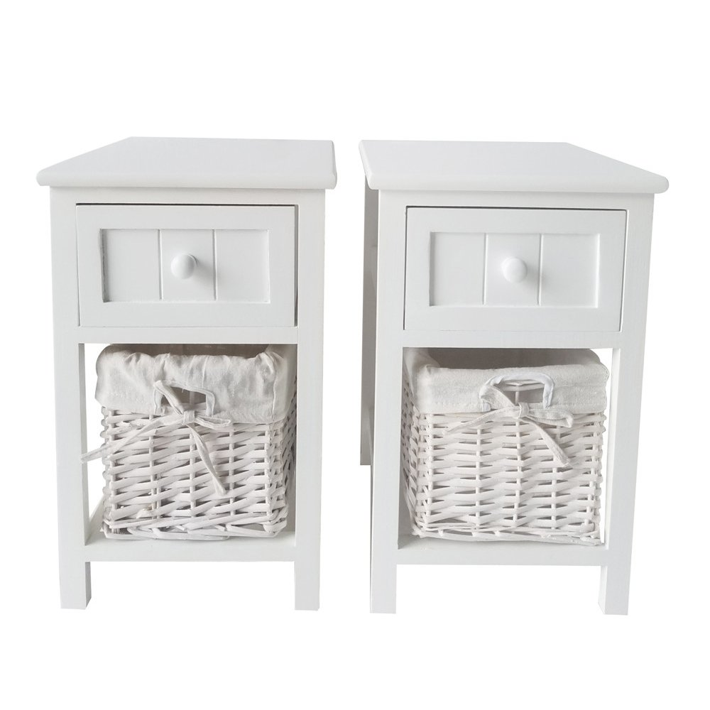 Lykos 2pcs Country Style Two-tier Night Tables with Drawer and Basket White