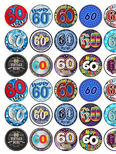 30 Assorted Male 60th Birthday Premium Rice Paper Cup Cake Toppers 35cms X 35 Cms