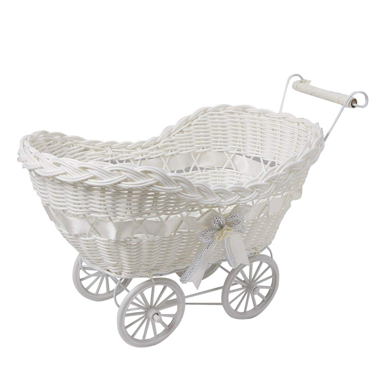 Christmas Gift for Boy & Girl Baby Pram Basket Wicker Hamper Baby Shower or Newborn Baby Gifts Xmas Present (Blue) SAFRI®