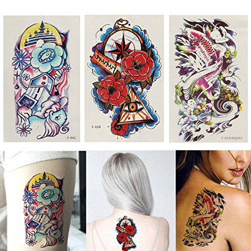 Pumpkin Patterns Printable (Temporary Tattoos - Colorful Fish Flower Pattern Totem Arm Back Temporary Tattoo Sticker Decal - Fish Flower Pots Temporary Tattoos Women Large Adult Adults Dalin Tattoo Stickers - For - 1PCs)