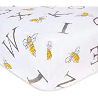 Burt's Bees Baby Fitted Crib Sheet|100% Organic Cotton Crib Sheet for Standard Crib and Toddler Mattresses, A-Bee-C