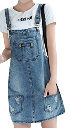 c843207613 Yasong Women Girls Suspender Skirt Denim Dungarees Dress Pinafore UK 14:  Amazon.co.uk: Clothing