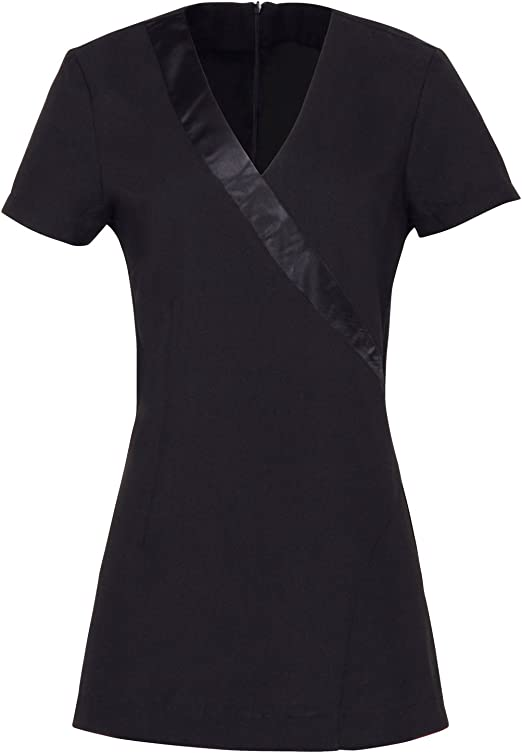 Ladies Women Premier Rose Beauty /& Spa Wrap Uniform Satin Trim Tunic
