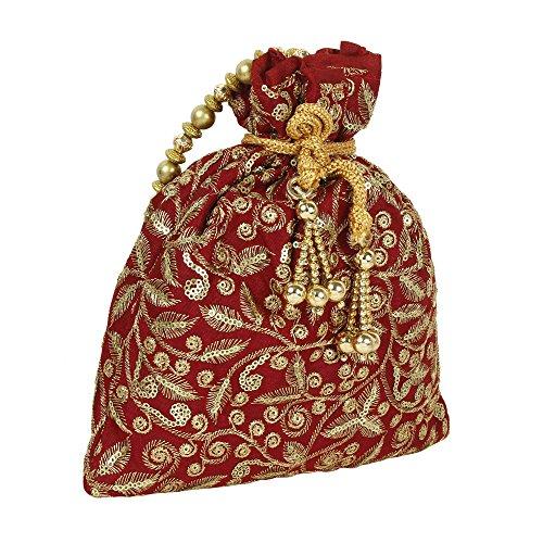 pour Colured Broderie femme à Maroon Collection Sac main main Polti Superbe à ethnique Sac qppH7