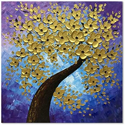 zoinart Abstract Decorative 3D Oil Paintings 24×24 inch 100 Hand Painted On Canvas Wall Art Wood Inside Framed Wall Paintings for Living Room Bedroom Home Decorations Gold Flower Artwork Wall Decor