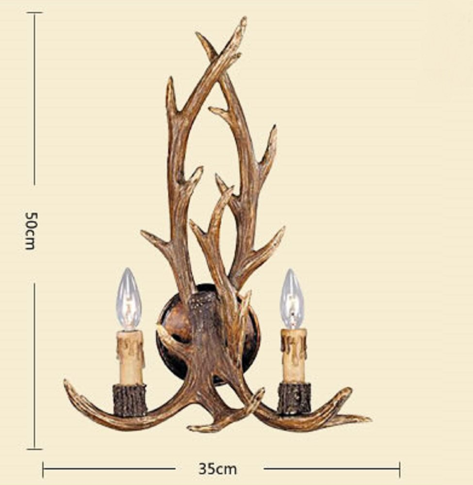 EFFORTINC Rustic Deer Horn Antler Wall Sconce 2 Light Fixtures