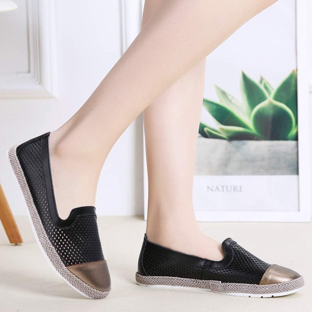 Ballerines pour Femmes Baskets en Cuir Souple Chaussures de Sport Respirantes Mocassins pour Dames Chaussures Bateau d'été Noir