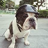 Gouptec 4-6 inch Diameter Handsome Biker Hat Pets Helmets Ridding Cap ABS Doggie Puppy Motorcycle Protect for Sports Dog Cat Costumes Accessories (5 inch, Black)