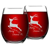 Set of 2 Merry Christmas Wine Glasses with White Christmas Deer Stemless Glasses Xmas Festival Decoration Christmas Holiday F