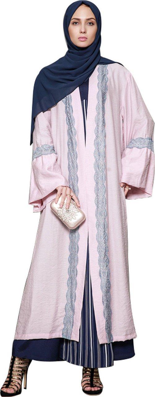 YI HENG MEI Women's Elegant Modest Muslim Clothing Full Length Bell Sleeve Print Abaya Coat,Pink