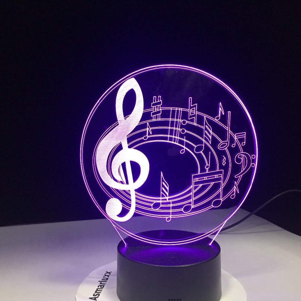 KangYD Nota Musical Lámpara De Mesa LED, Luz De Noche 3D ...