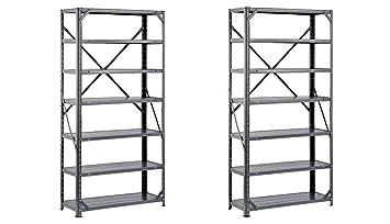 "Edsal HC30127 Steel 7-Shelf Shelving Unit 30/"" Width x 60/"" x 750 lb Capacity"