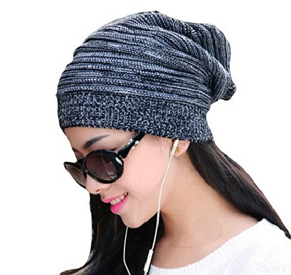 8168059fd95 Image Unavailable. Image not available for. Color  New Unisex Knit Baggy  Beanie Beret Hat Winter Warm Womens Mens Oversized Ski Cap ...
