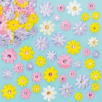 Selbstklebende Satinblumen Mit Schmucksteinen Zum Basteln Und Dekorieren Für Kinder Ideal Zum Frühling Muttertag Und Karneval 60 Stück