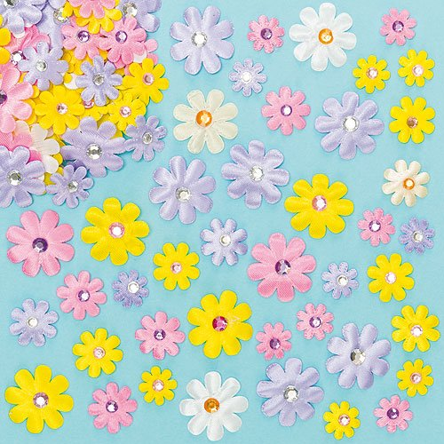 Self-Adhesive Satin Gem Flower Stickers Self Adhesive Collage Card Making Children's Arts & Crafts (Pack of 60)