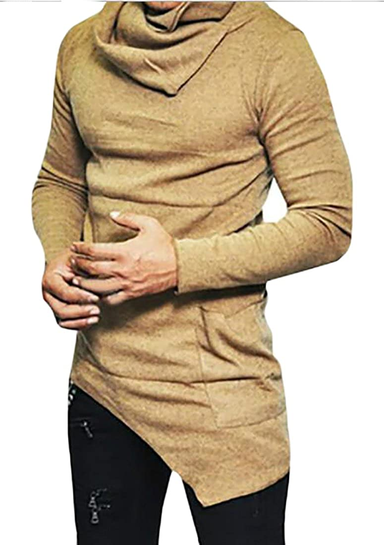 CRYYU Mens Casual Long Sleeve Asymmetrical Hem Cowl Neck T-Shirt Tops