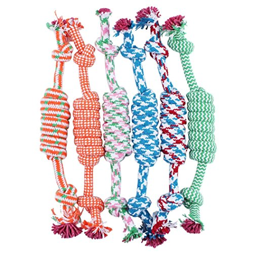 Pets Puppy Dog Pet Rope Toys Small to Medium Dogs Cotton Braided Bone Rope Chew Knot (Colorful) ()