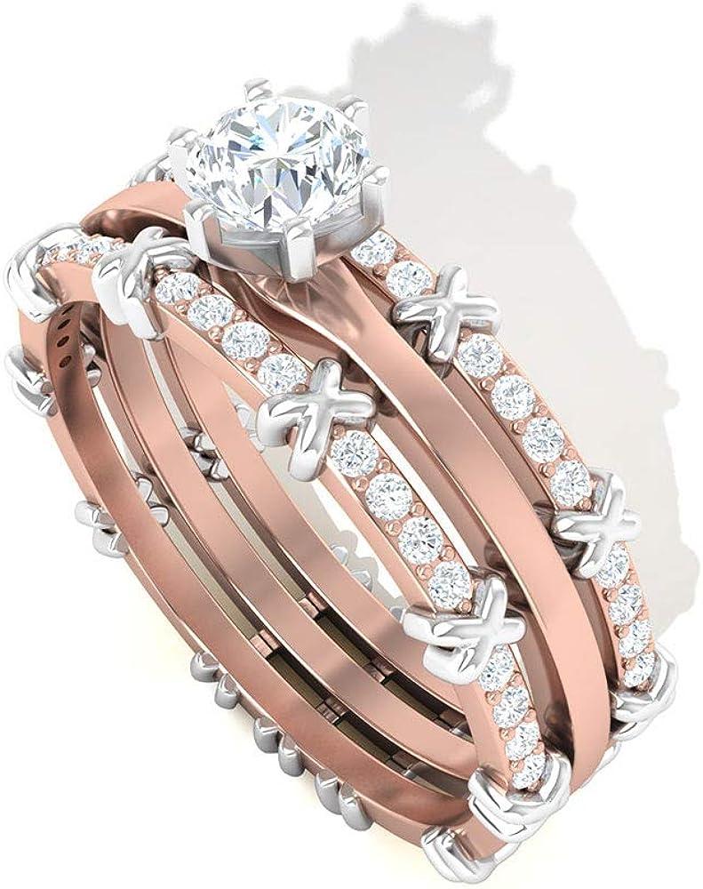 Anillo de compromiso redondo con diamante certificado IGI de 0,50 ct, mezcla de metal de 14k, anillos de boda, anillos de boda, compromiso de cumpleaños antiguo para ella
