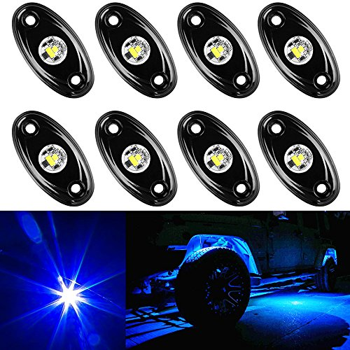 Amak 8 Pods LED Rock Lights Kit Blue Underbody Glow Trail Rig Light Waterproof Underglow LED Neon Lights for JEEP Off Road Trucks Car ATV SUV Vehicle Boat - Blue