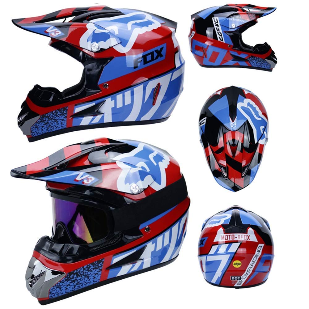 ,A,S,G,Medium CAXIJU Four Seasons Universal Adult Motorcycle Off-Road Helmet Motocross helmet Set Of 4 Men And Women Off-Road Motorcycle Ski Protective Helmet Gloves Mask Goggles