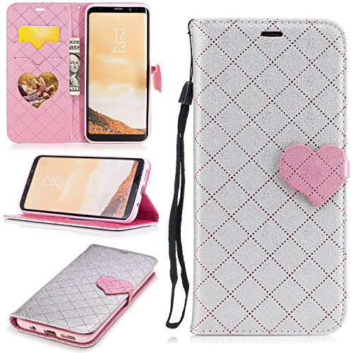 Carbon Fiber Snap Heart (S8+ Case, Galaxy S8 Plus Case, Galaxy S8 Plus Wallet Case, Easytop Love Heart Design Faux Leather Flip Credit Card Holder Wristlet Shockproof Protective Wallet Case for Samsung Galaxy S8 Plus (Grey))