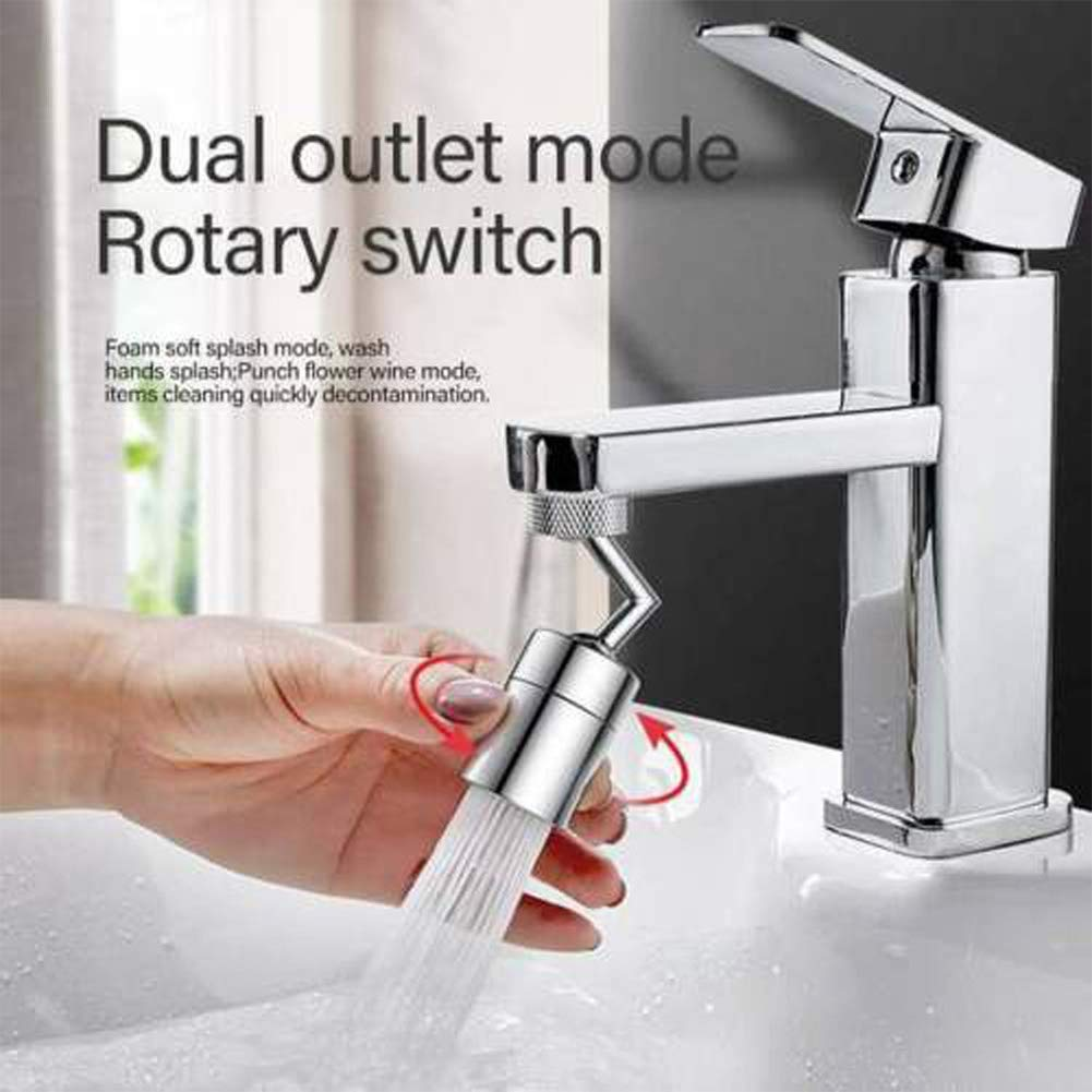 720/°Universal Splash Filter Faucet Rotatable Faucet Sprayer Head with 4-Layer Net Filter Ring Faucet Sprayer Attachment with Leakproof Design Oxygen-Enriched Foam Double O