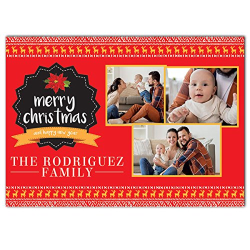 Poinsettia Holiday Christmas Photo Cards 7x5, Set of 20 (Poinsettias Stationery Holiday)
