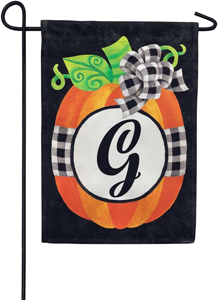 Custom Decor Gingham Pumpkin - Letter G - Embroidered Monogram - Decorative Double Sided Flag - Garden Size, 12 Inch X 18 Inch, Licensed, Copyright & Trademark CDI. USA