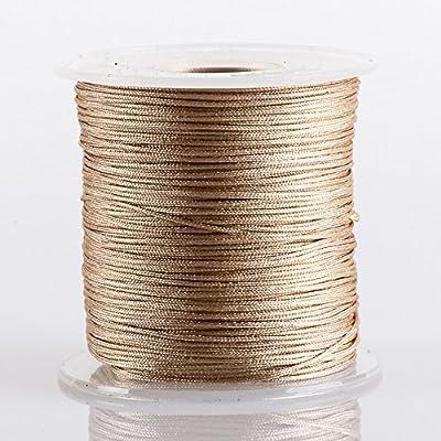 BEIGE 0.8mm Superior Quality Chinese Knot Nylon Cord Shamballa Macrame Beading Kumihimo String (100yards Spool)