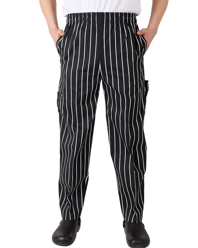 Nideen Men's and Women's Baggy Chef Pant Blue and White Stripes Pant Black L by Nideen