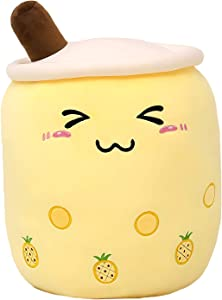 VickyPOP Cute Bubble Tea Plush Toy Stuffed Boba Food Shaped Pillow Cushion Cartoon Fruit Milk Tea Gift for Kids (Yellow Close Eyes, 9.4 inch)