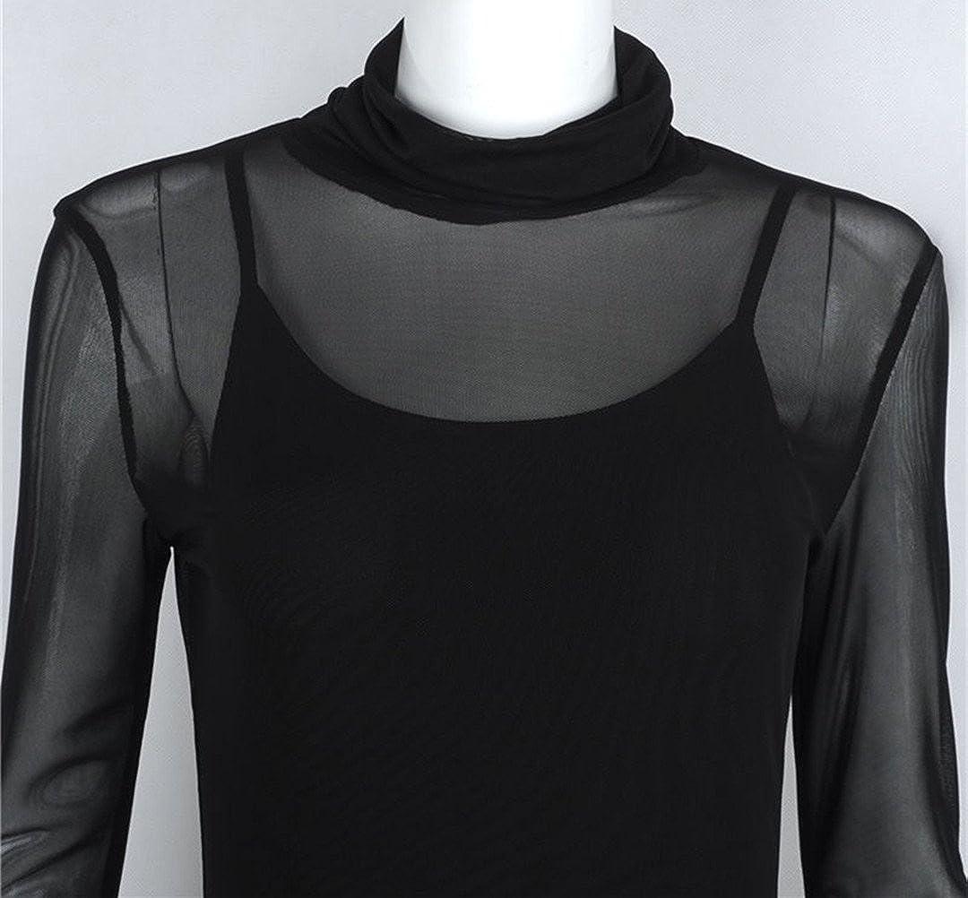 uideazone Mujeres Atractivas Clubwear Mini Vestidos de Malla Transparente Blusa Transparente Negro M: Amazon.es: Ropa y accesorios