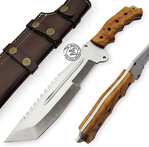Olive Wood 14 Handmade D2 Steel Tracker Hunting Knife Prime Quality